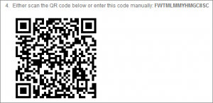 the QRcode you need to scan or the code needed to input manually